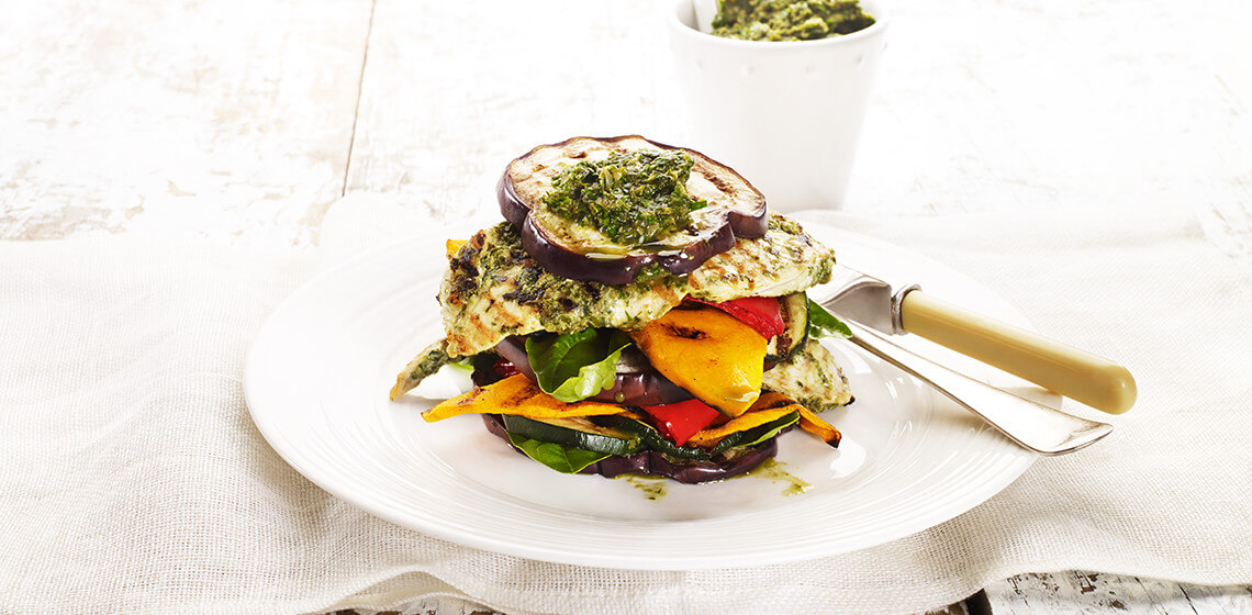 Chargrilled Chicken and Vegetable Stack with Salsa Verde