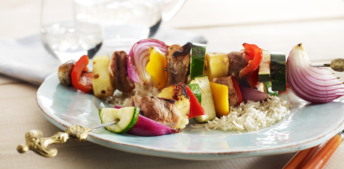 Sweet and sour pork kebabs