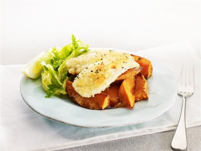 Oven Baked Fish with Sweet Potato Wedges