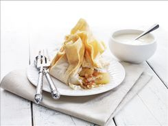 Pear & Date Parcels with Orange Ricotta Cream