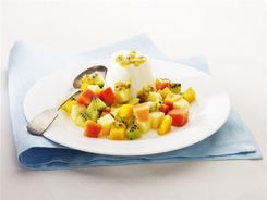 Honey Panna Cotta with Tropical Fruit Salsa