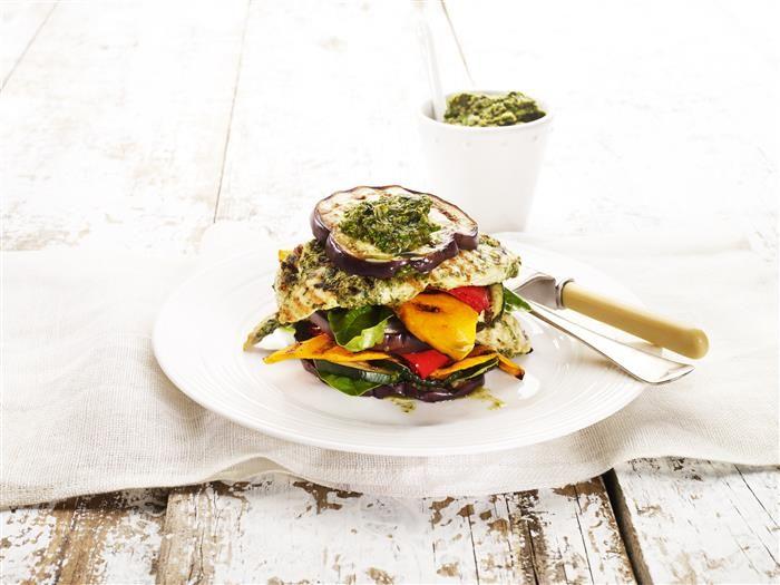 Chargrilled Chicken & Vegie Stack With Salsa Verde