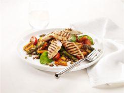 Grilled Pumpkin Asparagus & Chicken Salad