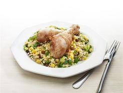 Teriyaki Chicken Drumsticks with Brown Rice Salad