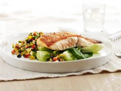 Grilled Salmon with Brown Rice Salad 3-2-1