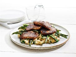 Balsamic Pork on Garlicky White Bean Mash 3-2-1
