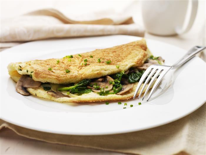 Fluffy Spinach & Mushroom Omelette
